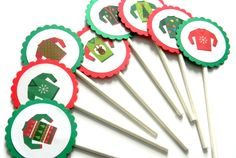 12 Ugly Sweater Cupcake Toppers, Ugly Sweater Party, Cake Toppers, Christmas Party, Christmas Toppers, Sweater Toppers, Party Decor, Holiday by thepartypenguin on Etsy