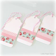 Set of 3 Gift tags - Washi tape pink chevron, polka dots and floral paper packages wrapping packaging tags wrapping gifts gifts paper gifts papers Washi Tape Cards, Washi Tape Diy, Duct Tape, Handmade Gift Tags, Diy Gift Tags, Christmas Gift Tags, Christmas Wrapping, Holiday Gifts, Holiday Desserts