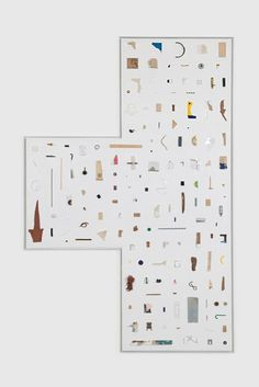 Noam Rappaport  Collection #8 (Victory Cap), 2012  Mixed media on panel  70 x 50 inches