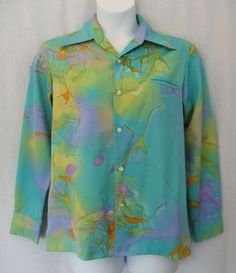 Tori Richard Vintage 60s 70s Disco Colorful Polyester Button Front Shirt Men's Medium approximate. Stellar condition.