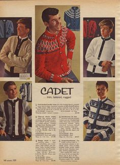Vintage Teen Boys' Cadet Sweaters (1964) from a 1964 catalog.