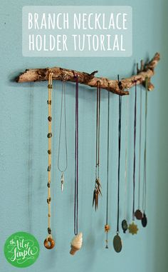DIY branch necklace holder: a crazy easy project, even for non-crafters like me. A few nails, a hammer, a tree branch = DONE.