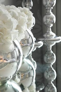 silvered glass and white hydrangea