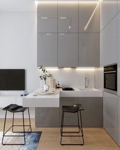 modern kitchen design Just the perfect small corner kitchen - contains lots of storage without loosing its light and airy look - Small Modern Kitchens, Modern Kitchen Interiors, Modern Kitchen Design, Interior Design Kitchen, Kitchen Corner, Kitchen Sets, Kitchen Colors, Kitchen Decor, Kitchen Small