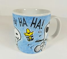 Snoopy Woodstock Peanuts Laughing Hee Hee Ha Ha Blue Coffee Cup Mug Applause