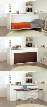 Raum optimal ausnutzen mit einem Bett im Schrank.