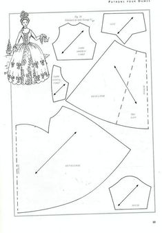 Free Barbie Patterns to PrintSeveral historical doll clothes patterns. They're photocopies of pages in French, so there will be some guesswork on my part.style Georges VThe music of the rain: Instead of the promised dolls - yet dresses for dolls…Ne Barbie Sewing Patterns, Doll Dress Patterns, Costume Patterns, Sewing Dolls, Clothing Patterns, Gown Pattern, Vintage Patterns, Vintage Sewing, Vintage Barbie