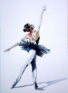 Original Aquarelle impressions de ballerine par SimplyArtByKristin