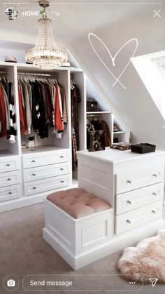 If you are struggling to find the space to install a walk-in closet, don't forget about areas you would not generally think about, For example, fitting buil. Attic Bedroom Closets, Attic Master Bedroom, Attic Bedroom Designs, Attic Wardrobe, Attic Rooms, Attic Spaces, Closet Designs, Closet Bedroom, Bedroom Decor