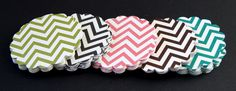 """$4.00 for (20) 2.5"""" (maybe for decorating diaper cake?)    20 Round Scallop Tags . Grey & White Chevron Stripes (double sided) Cardstock for Scrapbooking, Favor Tags, Cupcake Toppers . 2.5 inch"""