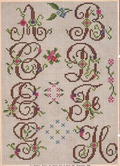 X-stitch letters 1 Cross Stitch Letters, Cross Stitch Love, Cross Stitch Charts, Cross Stitch Designs, Embroidery Alphabet, Embroidery Patterns Free, Stitch Patterns, Embroidery Monogram, Ribbon Embroidery