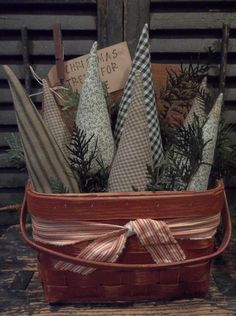 Gathering of Prim Handmade Christmas/Winter Trees in Small Painted Picnic Basket | eBay
