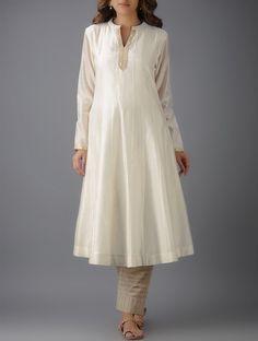 Buy Ivory Mandarin Collar Kalidar Chanderi Kurta with Cutwork Lining Cotton Mul SALE shop child products Online at Jaypore.com