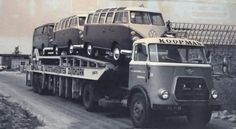 VW en Daf.. Train Truck, Road Train, Volkswagen Type 2, Vw T1, Classic Trucks, Classic Cars, Car Movers, Car Carrier, Mini Bus