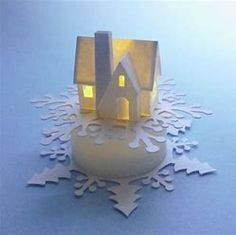 Snowflake Ring, Snowflakes, Kirigami, Led Tea Lights, Putz Houses, Village Houses, Glitter Houses, Light Crafts, Paper Houses
