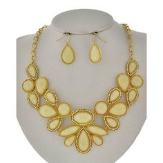 """Yellow Ivory Necklace Set Gold Tone / Ivory Acrylic / Lead&nickel Compliant / Fish Hook (earrings) / Statement / Necklace & Earring Set LENGTH : 18 1/2"""" + EXT •   EARRING : 5/8"""" X 1 3/8"""" •   DROP : 2 1/8""""  •   GOLD/IVORY/WHITE R.E.A.L Jewelry Jewelry Necklaces"""