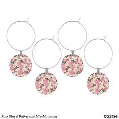 Pink Floral Pattern Wine Charm