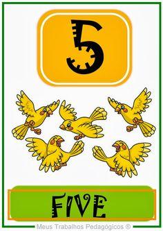 jardim colorido da tia liu: Fichas com números de 1 a 10 em inglês