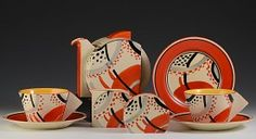 Clarice Freres - red yellow black and white art deco style with stripes and spots its almost tribal. Really like this set.