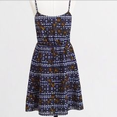 """JCrew blue/white sundress NWT Blue and white lightweight semisheer sundress with blue lining, adjustable straps, 2 side seam pockets, and elasticized waist. Approx 18"""" long from waistband. Mach wash. Orig $98 (tag removed) photo #1 from JCrew J. Crew Dresses Mini"""