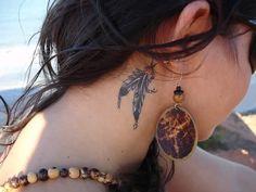 Tumblr Feather Tattoo Behind Ear