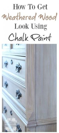 How To Get A Weathered Wood Look With Paint Simply Vintage Creations Farmhouse Dresser Makeover Diy Weathered Wood Look Using Chalk Paint Rustic Painted Furniture, Vintage Bedroom Furniture, Bedroom Furniture Makeover, Refurbished Furniture, Diy Bedroom, Furniture Dolly, Wood Bedroom, Bedroom Vintage, Antique Furniture