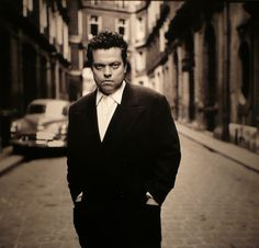 A rare shot of Orson Welles, in Paris, back in 1952.