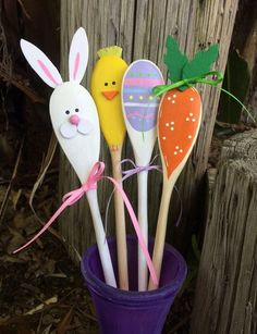 Diy button craft diy buttons button crafts and easter decor wooden easter kitchen spoons carrot bunny egg chick hand painted decorations negle Images