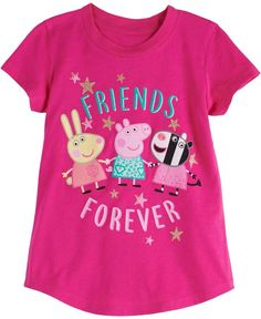 She's sure to have fun with friends on her next adventure in this girls' Jumping Beans Peppa Pig graphic tee. In pink. Peppa Pig Family, Jumping Beans, Friends Forever, Boys, Girls, Toddler Girl, Have Fun, Graphic Tees, Girl Outfits
