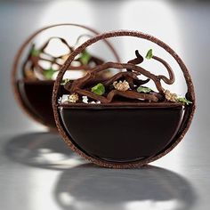 "Nadire Atas on Exquisite Desserts Creating an organic look within the negative space of the ""half tart"" by Crédit photo: Mathilde de l'Ecotais . Mini Desserts, Gourmet Desserts, Plated Desserts, Dessert Recipes, Gourmet Foods, Dessert Food, Patisserie Fine, Chocolate Art, Chocolate Hazelnut"