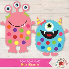 Miss Monster set of pom pom mats - these are great for colour match and fine motor control