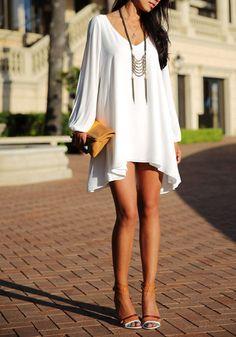 Slit Cutout Short Dress - Gorgeous Long Sleeves Dress