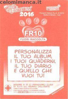 Amici Cucciolotti 2016: Retro Figurina n. FR10 -