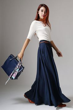 Navy Blue Pleated Skirt Classic Long Maxi Full Flared by xiaolizi