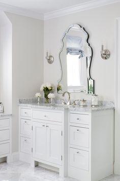 Elegant Vanity Mirror with White Bath Vanity - Transitional - Bathroom Inside Kitchen Cabinets, Blue Powder Rooms, Small Bathroom, Bathrooms, Master Bathroom, Bathroom Ideas, Glass Bathroom, Bath Ideas, Bathroom Designs
