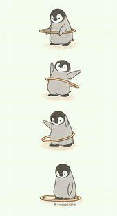Make Gemes, 10 Cute Illustrations of Little Penguins Perform Daily Tasks
