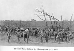 Eastern Front: The Leib Garde Hussar Regiment dismounts to rest by Manojow on July 20, 1917.