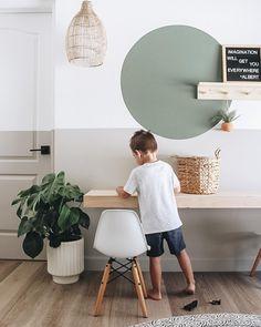 Floating Desk, Floating Shelves, Farmhouse Paint Colors, Porch Decorating, Furniture Making, Decoration, Interior Design, Design Design, Laundry Room