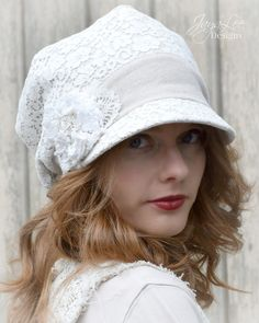 Heirloom Lace Hat Slouchy Visor Beanie by GreenTrunkDesigns