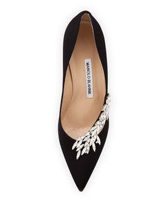 Manolo Blahnik Nadira Satin & Crystal Pump, Black - Drat, NYC ladies love the 2+ in. heel. If only the heel here was 4 in. this would spell love. LOL