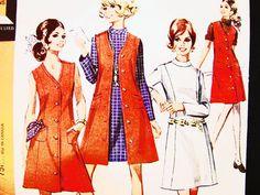 Patrón de vestido de la década de 1960 aline, pierde tamaño 12 chaleco vestido patrón una línea vestido Jumper vestido Vintage costura patrón