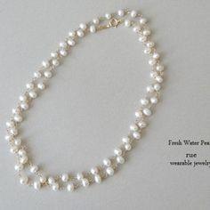 【K様ご予約】淡水真珠(約5×3mm)ネックレス/オールノット/K14GF