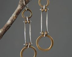Sterling silver Dangle Earrings Pink Quartz brass mixed