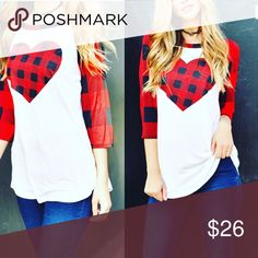 Buffalo plaid Valentine's Shirt ❤️ Buffalo plaid Valentine's raglan New ❤ Tops Tunics