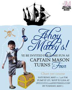 Pirate Birthday invite | Jonalynn McFadden Design | www.jonalynnmcfadden.com