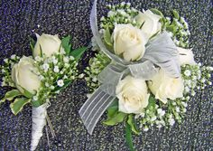 Wrist corsage of white spray roses & babies breath with matching boutineer Prom Corsage And Boutonniere, White Boutonniere, Corsage Wedding, Bridesmaid Bouquet, Wedding Bouquets, Boutonnieres, Homecoming Flowers, Homecoming Corsage, Prom Flowers