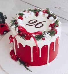 Mini Christmas Cakes, Christmas Cake Designs, Christmas Cake Decorations, Christmas Snacks, Holiday Cakes, Christmas Cooking, Christmas Christmas, Cool Birthday Cakes, Diy Cake