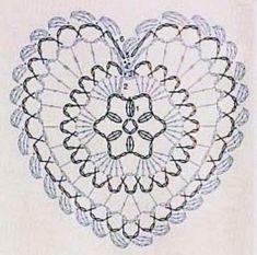 Crochet heart diagram only Crochet Stars, Thread Crochet, Crochet Flowers, Crochet Stitches, Crochet Motif Patterns, Crochet Bookmarks, Quick Crochet, Crochet Tablecloth, Crochet Gifts