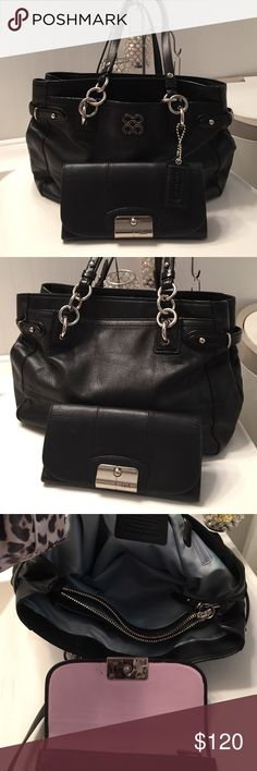 Coach Colette Leather Tote & Wallet 16460 Authentic Coach 16460 Coach Colette Leather  Carryall Black Leather Shoulder Tote & Leather Coach Wallet. This Bag is in Gently Worn Condition. Minor soil in center Zippered compartment that I will leave to new owner. One dot of pen over creed. This is a RARE bag. NOT Factory! Bought at Macy's and NOT DISCOUNTED!! throwing in the wallet.  Wallet has one mark of pen. Also gently Worn condition. Please ask all questions prior to buying. No Low Balling…