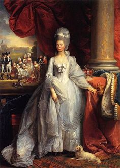 Portrait of Queen Charlotte of the United Kingdom, with Windsor and the royal family in the background.